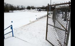 Anna-Jonesboro Community High School's football field was under a layer of sleet, snow and ice when the photograph was taken on Saturday, Feb. 13.