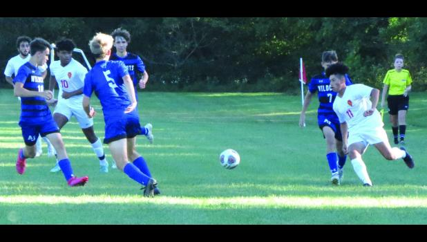 Anna-Jonesboro/Cobden, in dark uniforms, hosted Murphysboro in a boys' high school soccer game on Thursday afternoon, Sept. 23, in Anna. Action was moving up the field during the first half of the game.