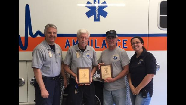 From left are Union County Ambulance Service director Grant Capel, Carrell O'Daniell, Roy Walker and ambulance service assistant director Jaime Watkins. Photo provided.