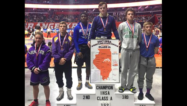 Anna-Jonesboro's Arieh Hart, third from left, stands on the podium after winning second place at state last weekend. Photo provided.