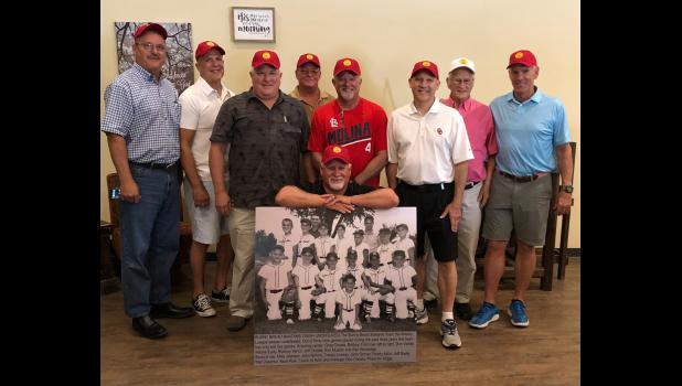 Members of the team in the 1968 photo included, kneeling in the center, Greg Choate, bat boy. In the first row are, from left, Don Verble, Wane Eudy, Rodney Vancil, Jeff Choate, Ken Mueller and Ron Woolridge. In the second row are Mike Jackson, John Nimmo, Tracy Livesay, John Garner, Randy Astin, Jeff Rader and Walt Zeschke. In the fourth row are coach Al Astin and manager Don Choate. Members of the team in the 2018 photo are, kneeling in the center, Greg Choate, bat boy. In the first row are, from left, Ro