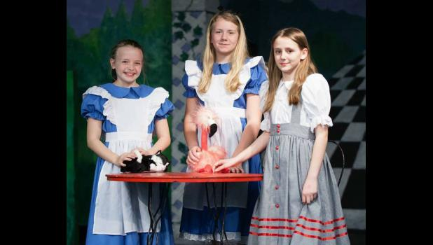 """""""Scenes from Alice"""" cast members Brinley Corbit, Jossilin Needling and Jadden Brimm are looking forward to performing in the play. Photo provided."""