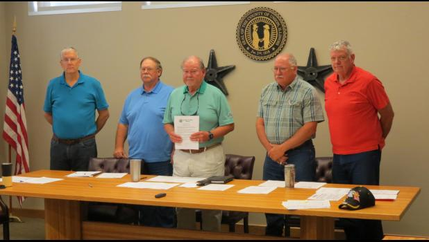 Union County Board of Commissioners chairman Max Miller held a proclamation which declared Sept. 17-23 as Constitution Week in Union County. The proclamation was signed at an Aug. 27 meeting of the county board. From left are commissioners David Gould, Bobby Toler Jr., Max Miller, Kent Pitts and Darryl Harvell.