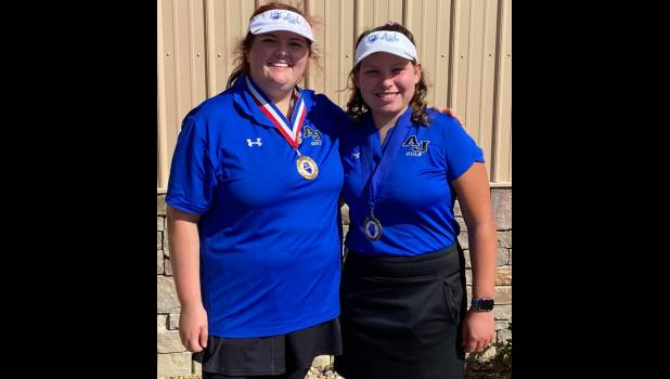 The Southern Illinois River-to-River Conference Mississippi Division girls' golf tournament was played Wednesday, Sept. 22, at Pine Lakes Golf Course in Herrin. Twenty-seven girls competed. A-J's Marlee Smith placed first. A-J's Maddi Hawk placed seventh. With their finishes, both A-J golfers earned all-conference team honors for 2021. Photo provided.