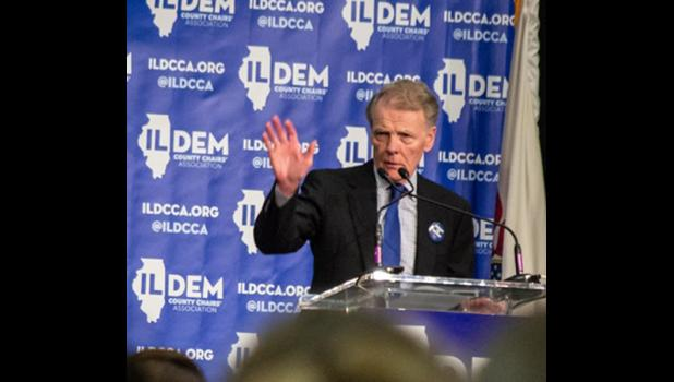 Former House Speaker Michael Madigan speaks at an Illinois Democratic County Chairs Association brunch in 2019. He announced Thursday, Feb. 18, that he will step down as a member of the House of Representatives. Capitol News Illinois file photo by Jerry Nowicki.