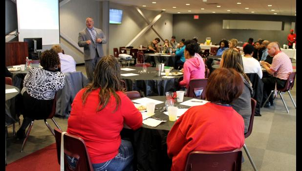Spencer Byrd, superintendent at Meridian High School, spoke to those who attended the luncheon about the Fast Start Program. Photo by Lindsey Rae Vaughn.