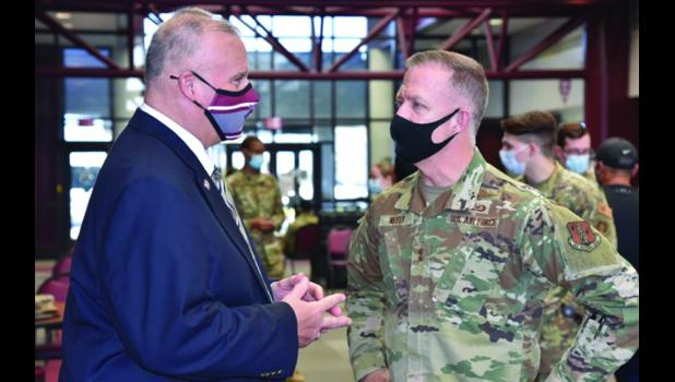 Maj. Gen. Richard R. Neely, adjutant general of the Illinois National Guard, met with Dr. Tim Taylor, president of Shawnee Community College. Neely visited the college campus last week. Shawnee Community College photo.