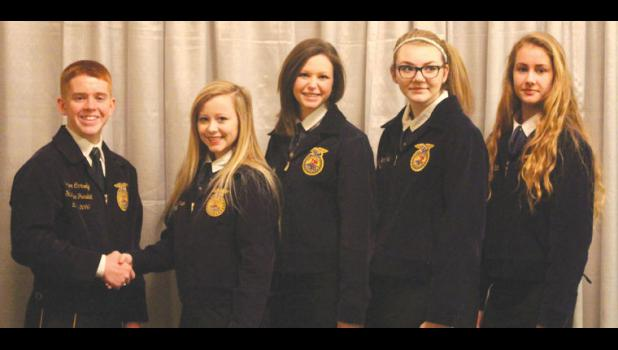 Four FFA members from Egyptian High School in Tamms attended a 212 Leadership Conference in Collinsville on Jan. 29-30. From left are Conner Carmody, the Illinois State FFA vice president, Hannah Robinson, Madelyn Smith, Rileigh Petermichel and Kelsey McCrite.