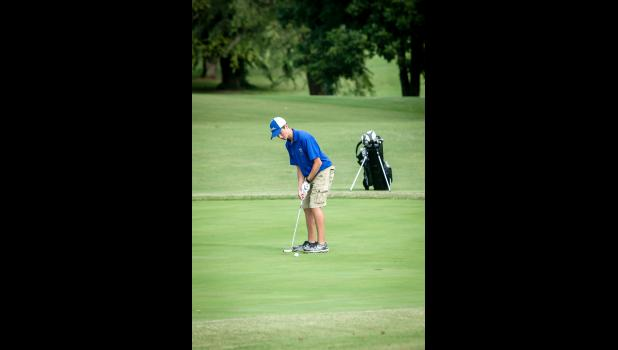 Anna-Jonesboro Community High School's Aiden Frick, a senior, participated in the AJ golf match on Thursday, Aug. 25. Photo by Tiffiny Dillow for The Gazette-Democrat.