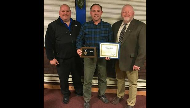 From left are State Troopers FOP Lodge 41 president Joe Moon, Valor Award recipient William Parks and FOP State Lodge president Chris Southwood. Photo courtesy FOP State Lodge. Photo provided.