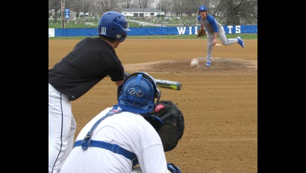 Thursday, March 9, the Anna-Jonesboro Community High School baseball team practiced. Kyle Clover was on the mound, pitching to Ross Pinnon; Jacob Schaefer was the catcher. The team was practicing at Kiwanis Field at the Anna City Park. The season opener was set for Monday, March 13.