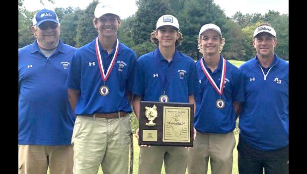 The Anna-Jonesboro Community High School boys' golf team took first place at the Southern Illinois River-to-River Conference Mississippi Division tournament at Carterville on Tuesday, Sept. 29. Members of the title-winning team include, from left, coach Steve Taylor, Gavin Osman, Luke Lasley, Kamden Richardson and coach Brandon Bierstedt. Photo provided.