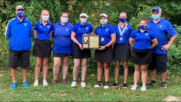 The Anna-Jonesboro Community High School girls' golf team took home the Southern Illinois River-to-River Conference Mississippi Division Tournament title. From left are coach Brandon Bierstedt, Reese Reynolds, Madi Hawk, Kiersten Wright, Marlee Smith, Mary Jane Cavaness, Addi Hadley and  coach Steve Taylor. Photo provided.
