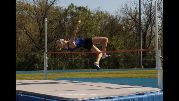 Anna-Jonesboro Community High School's Brook Miller competed in the high jump event at a track meet on Wednesday, April 12. The meet was at the Union County school. Photo by Lindsey Rae Vaughn.