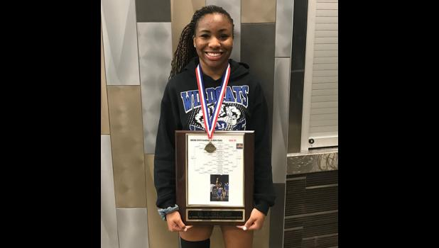 Anna-Jonesboro Community High School's  sophomore Amiyah Hart won the 111-pound weight class at the Illinois Wrestling Coaches Organizational Association girls' state championship in Springfield, March 9-10. Photo provided.