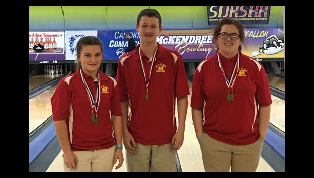 Top 15 finishers for the Anna Junior High School bowling girls' and boys' bowling teams included Avery Page, Aden Hopkins and Madi Hawk. Photo provided.