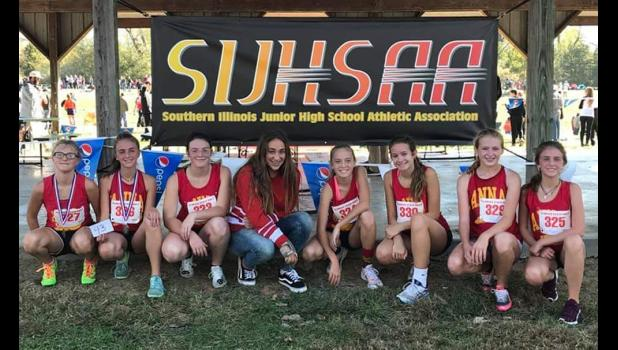 Anna Junior High School girls' cross country team members: from left are Raelynn Sadler, Kayla Matuszewich, Lakelyn Carter, Katie Sullivan, Brooklyn Eastman, Tess Wilkins, Hannah Webb and Kaitlyn Matuszewich. Photo provided.