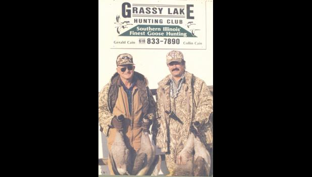 Collin Cain, Grassy Lake Hunting Club sponsor, pictured on the right with the late Gerald Cain, his father.