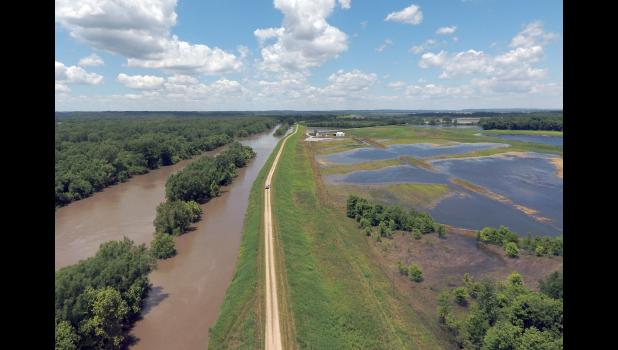 This aerial image of a Clear Creek levee segment was taken during the 2019 spring flood event. Photo provided.