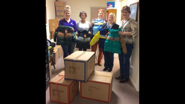 The last of the coats made their way home to the Children's Medical & Mental Health Resource Network, CMMHRN, in Anna. From left are CMMHRN healthcare technician Tiffany Vicente, office associate Elaina Spalt, Dr. Kathy Swafford, director Ginger Meyer and WIBH sales manager Shawnna Rhine. Photo provided.