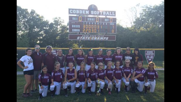 With a victory over Dongola, the host Cobden Junior High School softball team won a Class S regional championship last Friday evening. Cobden also won an SIC conference championship. In the first row are, from left, Leah Goins, Emma Phillippe, Kylie Hale, Emma Kilpatrick, Tess Brummer, Mya Bittle, Mirranda Eads, Rhylee Sauerbrunn and Bianca Vicente. In the second row are Katelyn Shadowens, Lily Britt, Hannah Stillman, Abby Clover, MaKenzie Howell, Abby Remsey, Olivia Brumleve, Gracelynn Fisher and Karleigh