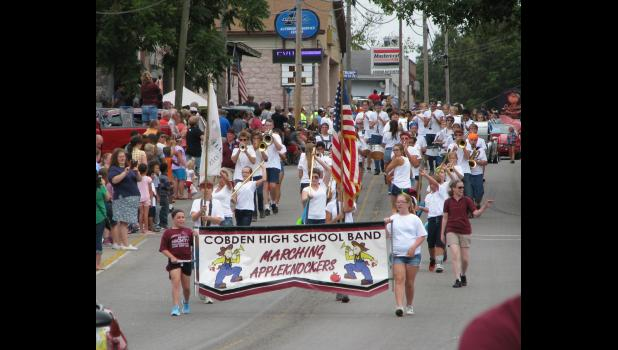 The Cobden High School Marching Appleknockers band participated in last Saturday afternoon's Cobden Peach Festival parade.