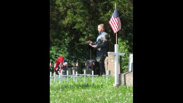 U.S. Army veteran Doug Meadows II spoke at a Memorial Day ceremony which was held Monday morning at the Cobden Cemetery.
