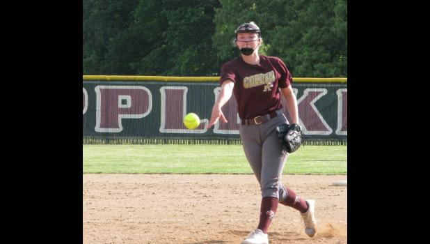 Meredith Flamm tossed a two-hitter to lead Cobden to a 13-0 victory over Egyptian Wednesday, May 16, in first-round action at an Illinois High School Association Class 1A regional softball tournament which was hosted by the Union County school.