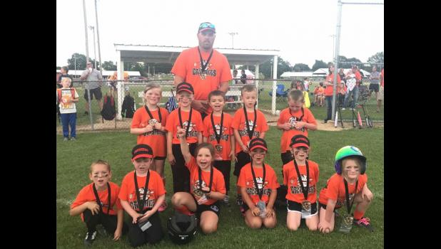 First year T-ball: Cook Crushers, second place.