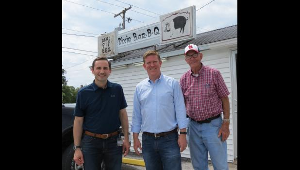 From left are judicial candidate and Union County State's Attorney Tyler R. Edmonds, Congressional candidate Brendan Kelly and former Union County Sheriff Jim Nash.