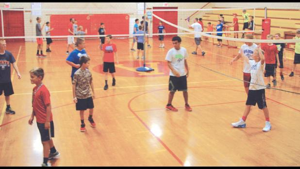 Boys at the camp competed in a variety of games in the junior high's older gym.
