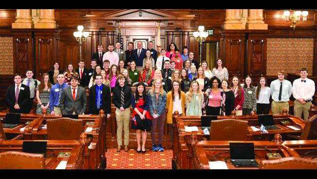 More than four dozen students from 15 different schools in Southern Illinois journeyed to Springfield to a meeting of State Sen. Dale Fowler's Youth Advisory Council. Photo provided.