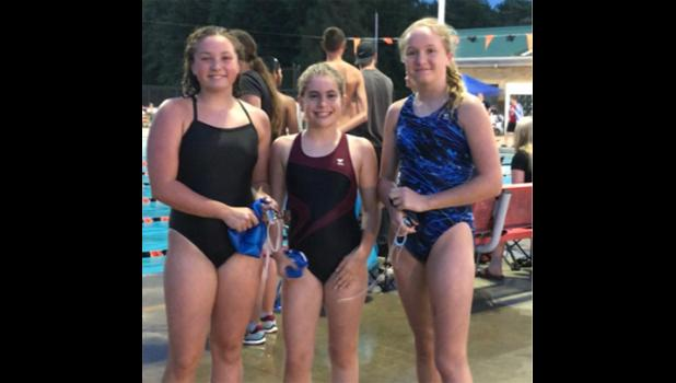 Swimmers Isabella Hawk, Agent Inman aand Cassidy Janke. Photo provided.