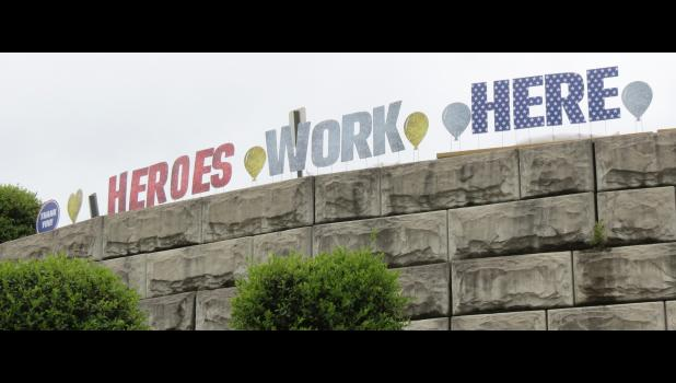 A Heroes Work Here sign has been on display at Union County Hospital, which is located along North Main Street in Anna.