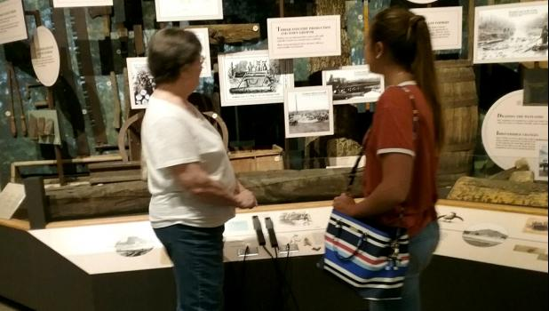 IAHCE member Sue Johnson and her granddaughter Erica viewed the displays of material assembled and maintained at the Cache River Wetlands Center during the recent Shawnee Unit field trip. Photo provided.