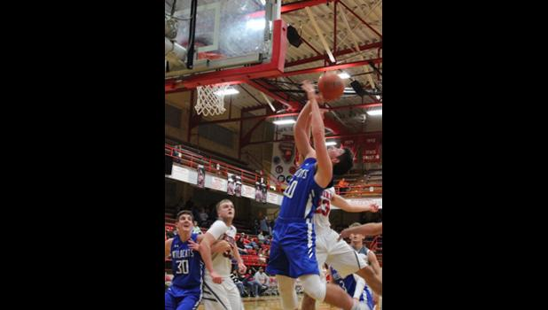 Anna-Jonesboro's Jake Parr goes up for a shot against West Frankfort at the West Frankfort Mid-Winter Classic. Bob Fester photo.