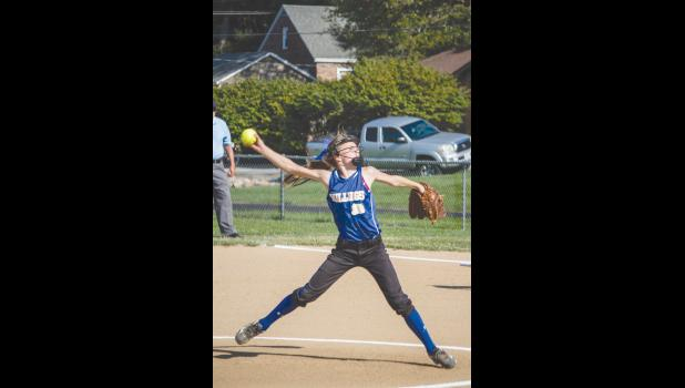 Jonesboro School's junior high softball team faced Vienna on Monday, Aug. 29. Jenna Sadler pitched in the game. Photo by Tiffiny Dillow for The Gazette-Democrat.
