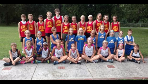 Anna Junior High School, Jonesboro School and Lick Creek School competed at the Murphysboro Twilight Invitational cross country event on Friday, Aug. 23. Photo provided.