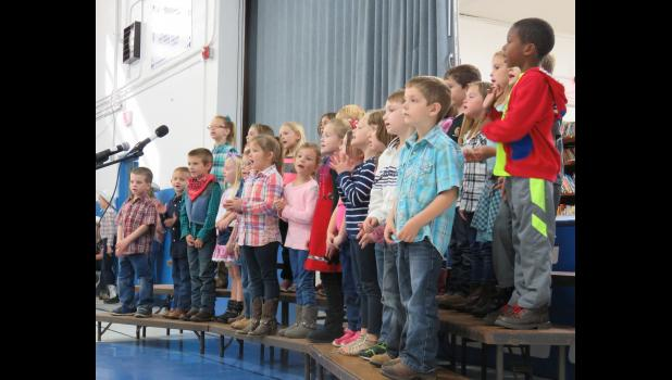 The kindergarten and 1st grade students performed some animal-themed songs. Photo by Amber Skelton.