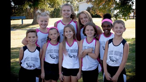 Lick Creek School cross country team members are, in the first row, from left, Kaleb Stover, Lilliah Hoehner, Kylee Myers, Mya Clutts and Luke Schlenker. In the second row are Leah Buchheit, Meranda Wright, Kenzie Stover and Jadyn Gerardi. Photo provided.