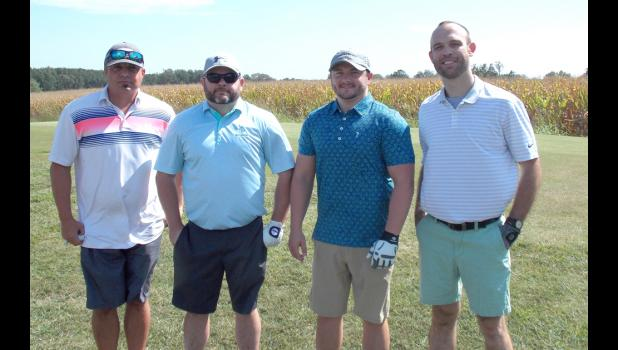 The Sherrill family was represented at the event by Brad and Jeff Sherrill, whose team finished second in the B Flight for the day. Team members were, from left, Jake Alley, Brad Sherrill, Jeff Sherrill and Pete Plesko. Photos by Benjamin Marxer.