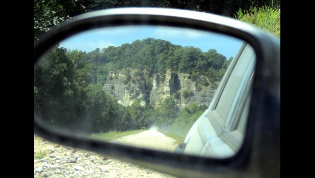 The bluffs at LaRue-Pine Hills, as they were seen, in the rearview mirror, last Sunday afternoon...as we headed home...