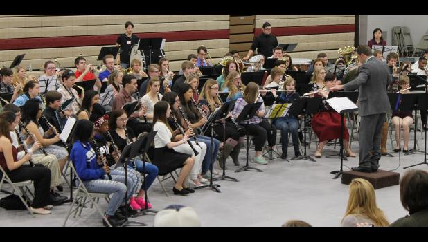 A regional high school band performed March 23 at Shawnee Community College near Ullin. The band featured student musicians from area high schools. Photo by Lindsey Rae Vaughn.