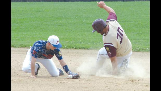 Cobden Junior American Legion baseball team member Dylan Duty slides safely into second base during a game against Metropolis played last Sunday afternoon. The game was played at Blayne Smith Field at Cobden High School.