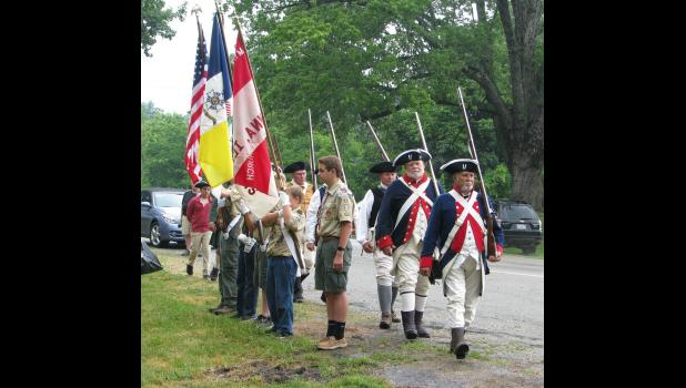 Members of Union County Boy Scout Troop 44 displayed the colors while an Illinois Society Sons of the American Revolution color guard marched behind them. The Boy Scouts who were participating in the ceremony included Bryan Williams, Ben Hauser, Dustin Palmer, Dylan Graham and Will Smiley.