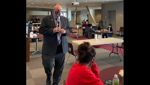 Dr. Tim Taylor, the new president of Shawnee Community College, spoke with students during a recent meet and greet event. Shawnee Community College photo.