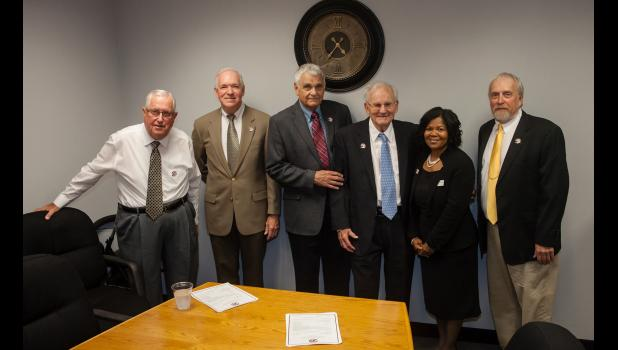 Shawnee Community College recently celebrated its 50th anniversary. Former presidents, and the current president, were among those present for the celebration. From left are Dr. Jack Hill, Dr. Larry D. Choate, Dr. Barry Gowin, Dr. Loren E. Klaus (founding president), Dr. Peggy Bradford (current president) and Dr. Larry E. Peterson. Dr. Tim H. Bellamey and Dr. Terry Ludwig were not present. Photo by Tiffiny Dillow for The Gazette-Democrat.