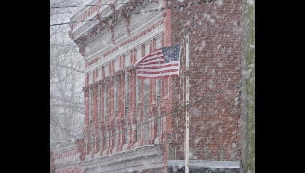 Heavy snow fell last Sunday afternoon in the Union County area. The snow was accompanied by blustery winds. The accompanying image was captured in downtown Cobden, near the post office and the Union County Museum.