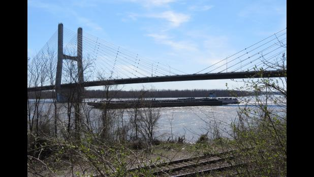 The towboat Margaret Ann passes under the Bill Emerson Memorial Bridge. The picture was taken on the Cape Girardeau river front.