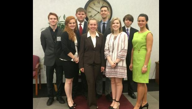 Team 16 on Banker Day: In the first row are, from left, Mackenzie Conway, Meghan Smith, Samantha Smith and Kaitlin McWhorter. In the second row are Logan Jerolds, Austin Besomcslki, Adam Jung and Austin Klasner. Photo provided.